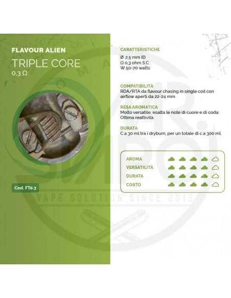 Coil TRIPLE CORE ID 2,5mm FLAVOUR ALIEN 0.3 ohm - Breakill's Alien Lab (FLAVOUR)